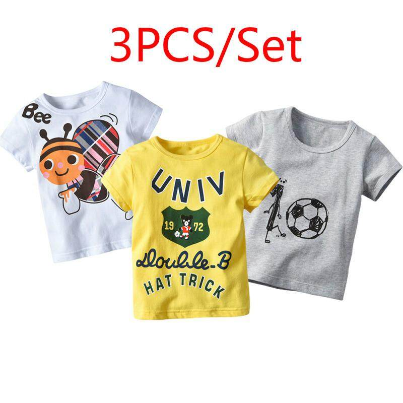 3 Pack Children Boys Summer Cotton Letter Cartoon Stripe T-Shirt By Ropalia Store.