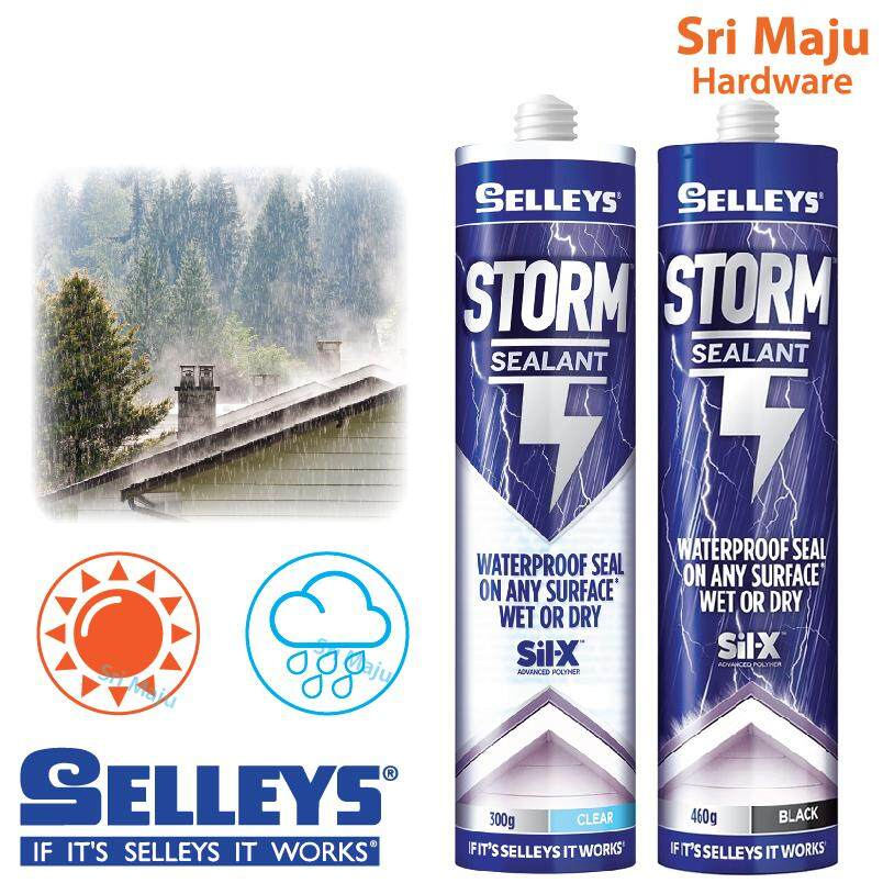 MAJU Selleys Storm Sealant Weather Water Proof Awning Roofing Water Leaking Clear / Black