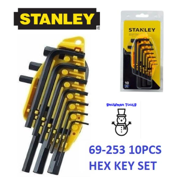 STANLEY 69-253 10PCS HEX ALLEN KEY SHORT BLACK ALLEN KEYS HEX DRIVER HEXAGON L WRENCH 69253 SET IN MM METRIC HAND TOOL TOOLS