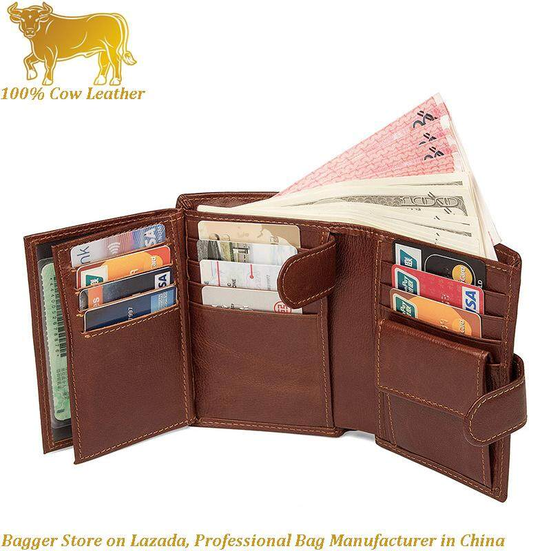 Rfid Card Clip Genuine Cow Leather Short Wallet For Men Business Casual Fashion Europe Style Three Folds