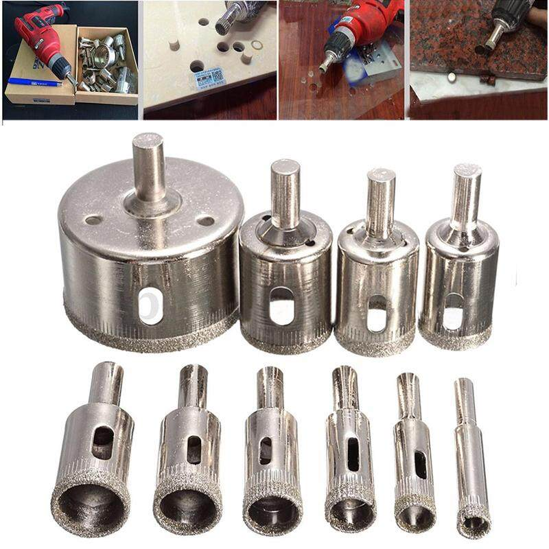 idealhere 10pcs 8-50mm Diamond Coated Hole Saw Drill Bit Set for Tile Ceramic Marble Glass