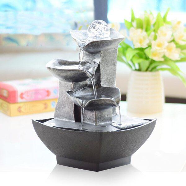 Vintage Home Decor Indoor Water Fountain Craft Resin Feng Shui Fountain Waterscape Figurine Office Desktop Ornaments