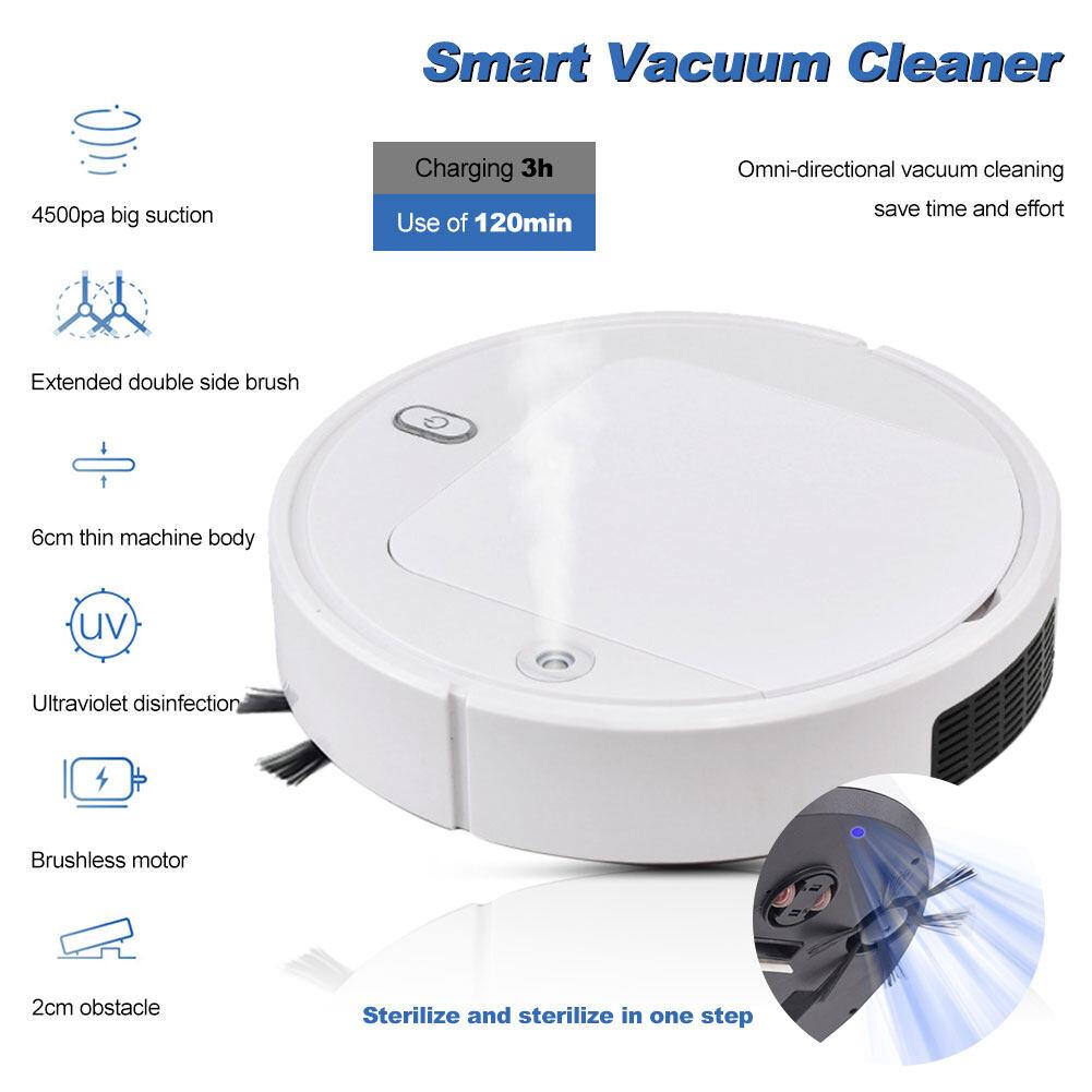 【JH】Vacuumทำความสะอาด3-In-1อัตโนมัติหุ่นยนต์กวาดบ้าน,เครื่องฆ่าเชื้อด้วยเเสงยูวี,Fresh Air