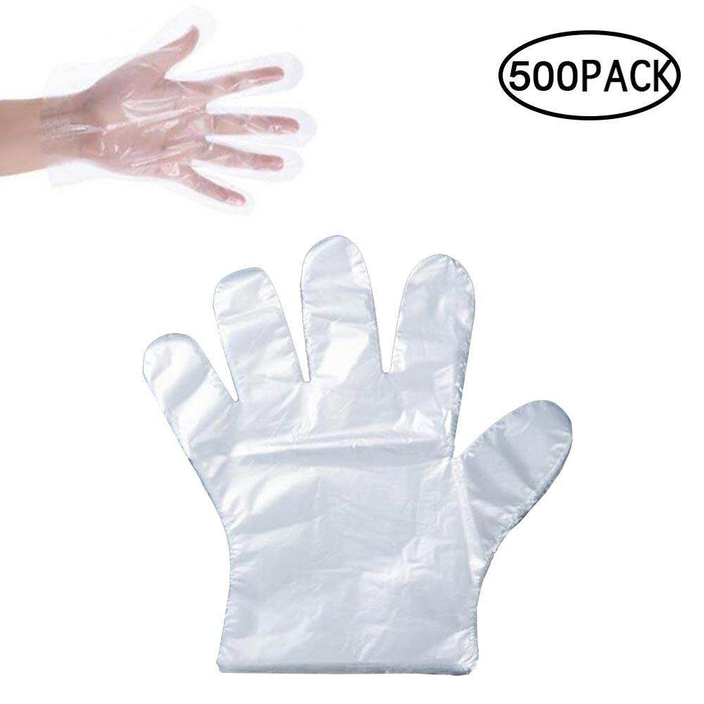 GoodGreat Plastic Gloves Disposable, 500 PCS Sterile Vinyl Gloves, Clear Thin Food Gloves for Cooking,Cleaning,Food Handling