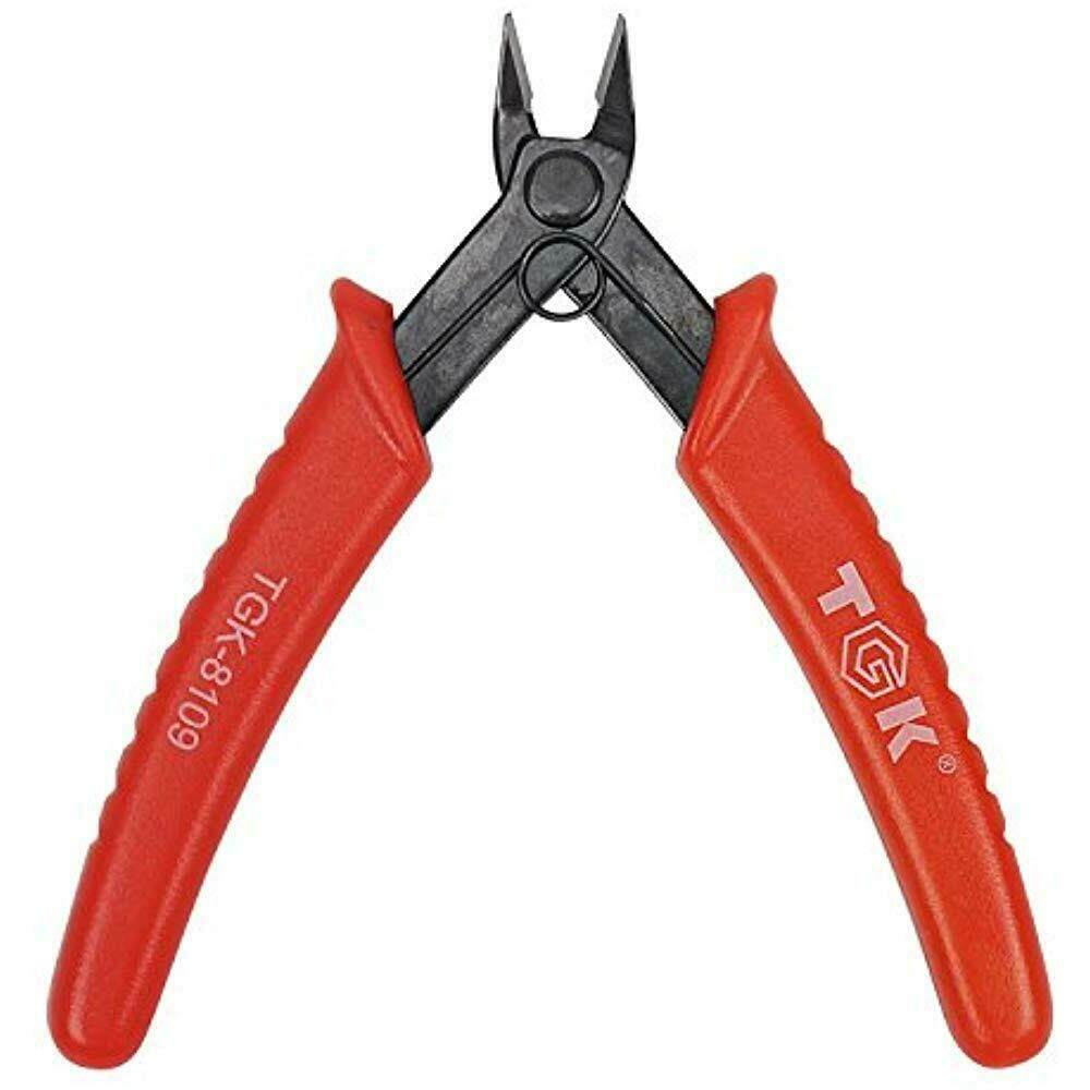 OUTOP Wire Cutters Micro Shear Flush 45 Degree Carbon Steel Pliers 5inch Red(TGK-8109)