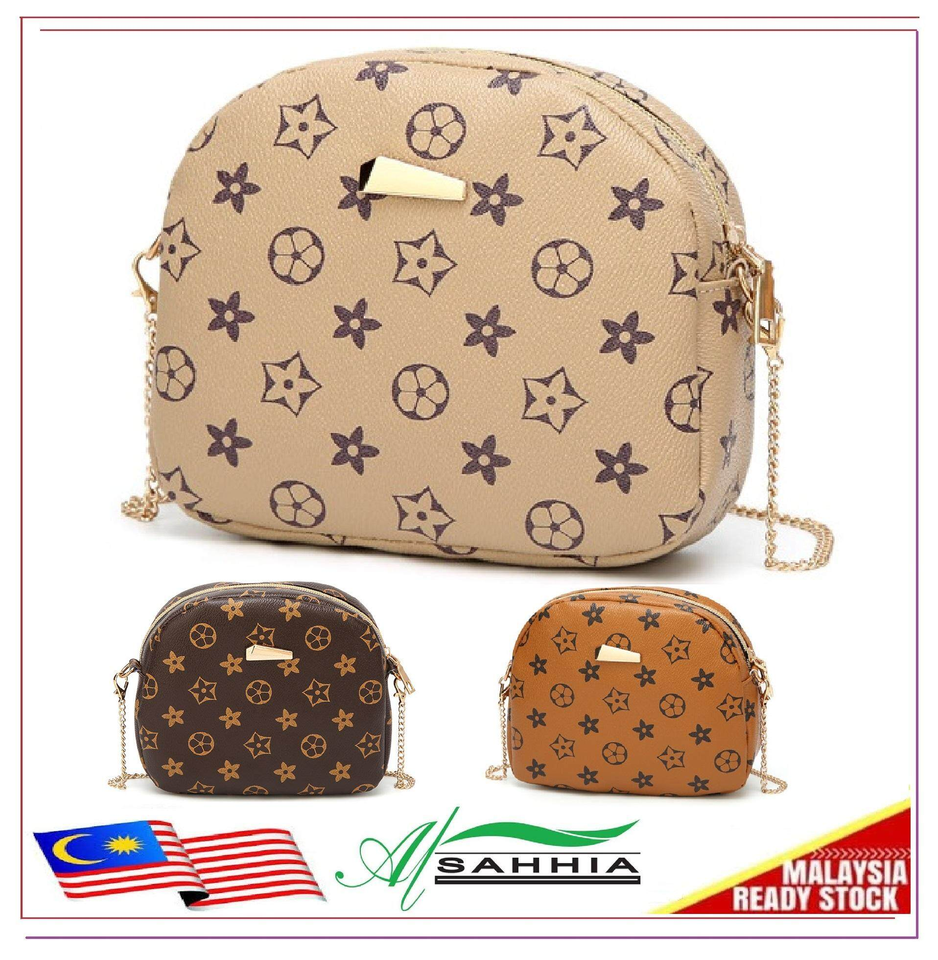 d4605ebe04 Al Sahhia Ready Stock Star Brown Chain European Syle Sling Bag