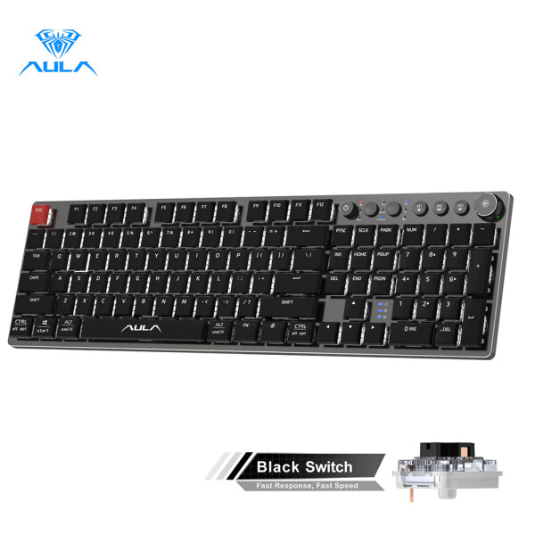 New Arrive! AULA F2090(wired+2.4G+bluetooth)Ultra-thin Mechanical Keyboard 104 Keys Suitable For PC/MAC/I0S/ Android /Windows Singapore