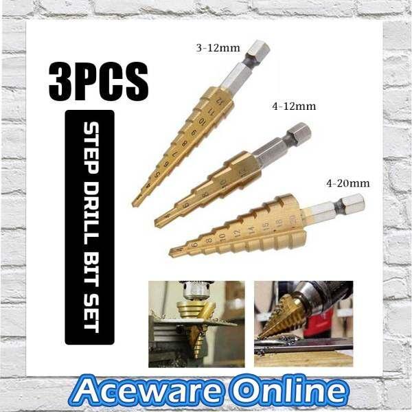 3PCS HSS STEEL STEP CONE DRILL BIT HOLE CUTTER TITANIUM COATED 3-12MM 4-12M 4-20MM POWER TOOLS ACCESSORIES