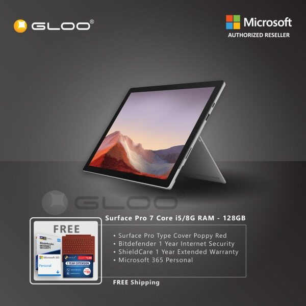 [Pre-order. ETA 1.6.2020] Microsoft Surface Pro 7 Core i5/8G RAM - 128GB Platinum - VDV-00012 + Surface Pro Type Cover Poppy Red + Shield Care 1 Year Extended Warranty + Bitdefender 1 Year Internet Security + Microsoft 365 Personal (ESD) Malaysia
