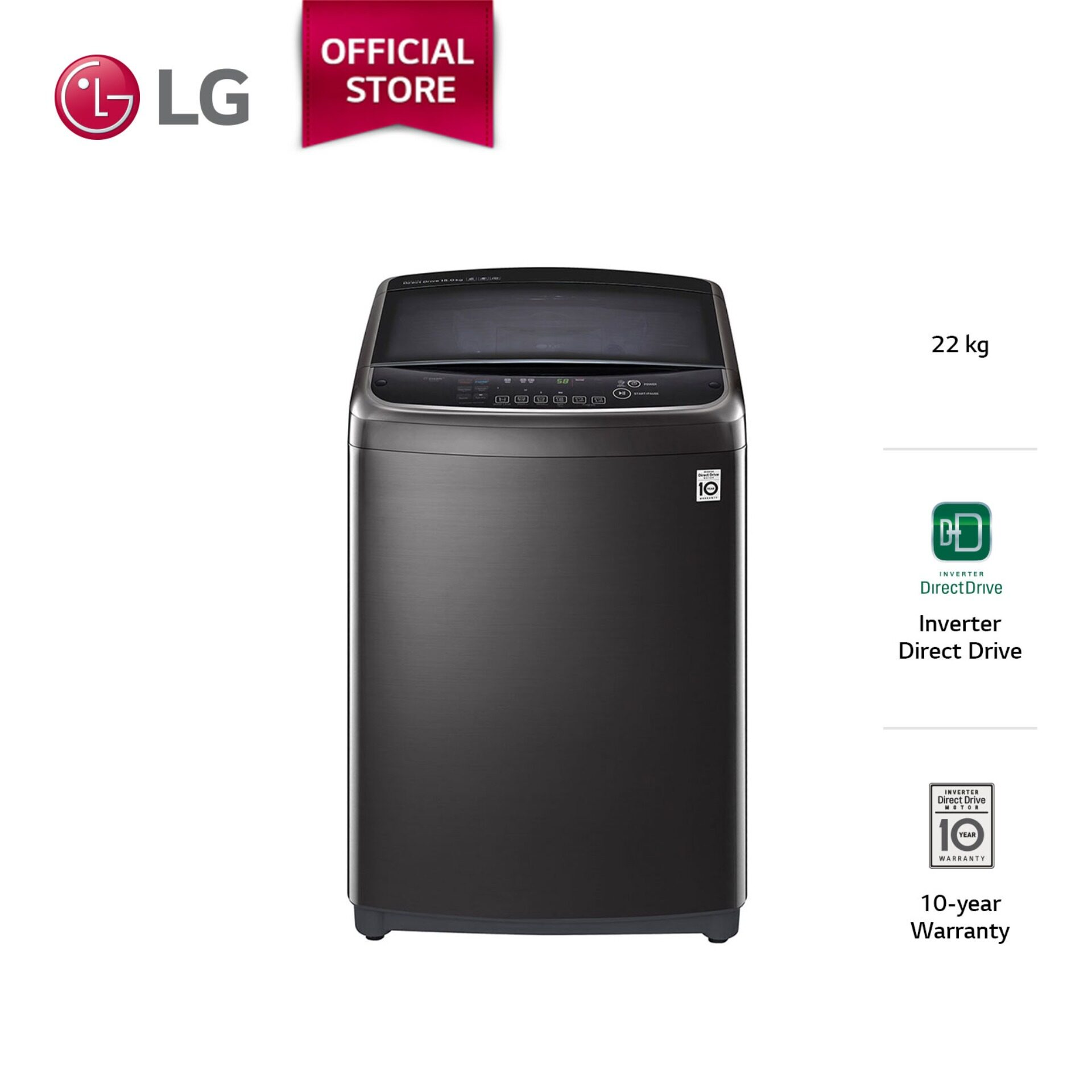 LG 22kg 6 Motion Inverter Direct Drive Top Load Washer with Steam Function TH2722SSAK