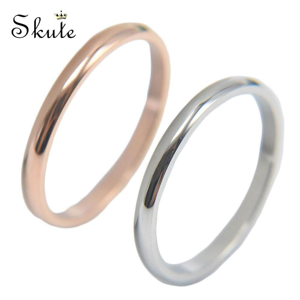❤SKute Cute and Simple Ring Silver Rose Gold Plated Titanium Steel Rings Women's Men's Jewelry