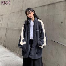 NICK Mùa Thu Và Mùa Đông Coat Đối Với Phụ Nữ Phong Cách Hàn Quốc Lỏng Độn Len Cừu Đồng Phục Bóng Chày