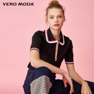 Vero Moda Women Frill Stripe Buttoned Short Sleeve Knit Top 320145502 thumbnail