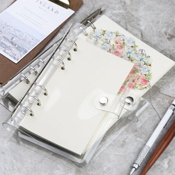 Mua 1 cái PVC trong suốt Clip tập tin thư mục Loose Notebook Sheet r-ing Binder Nhật Ký chương trình nghị sự đồ dùng văn phòng trường học