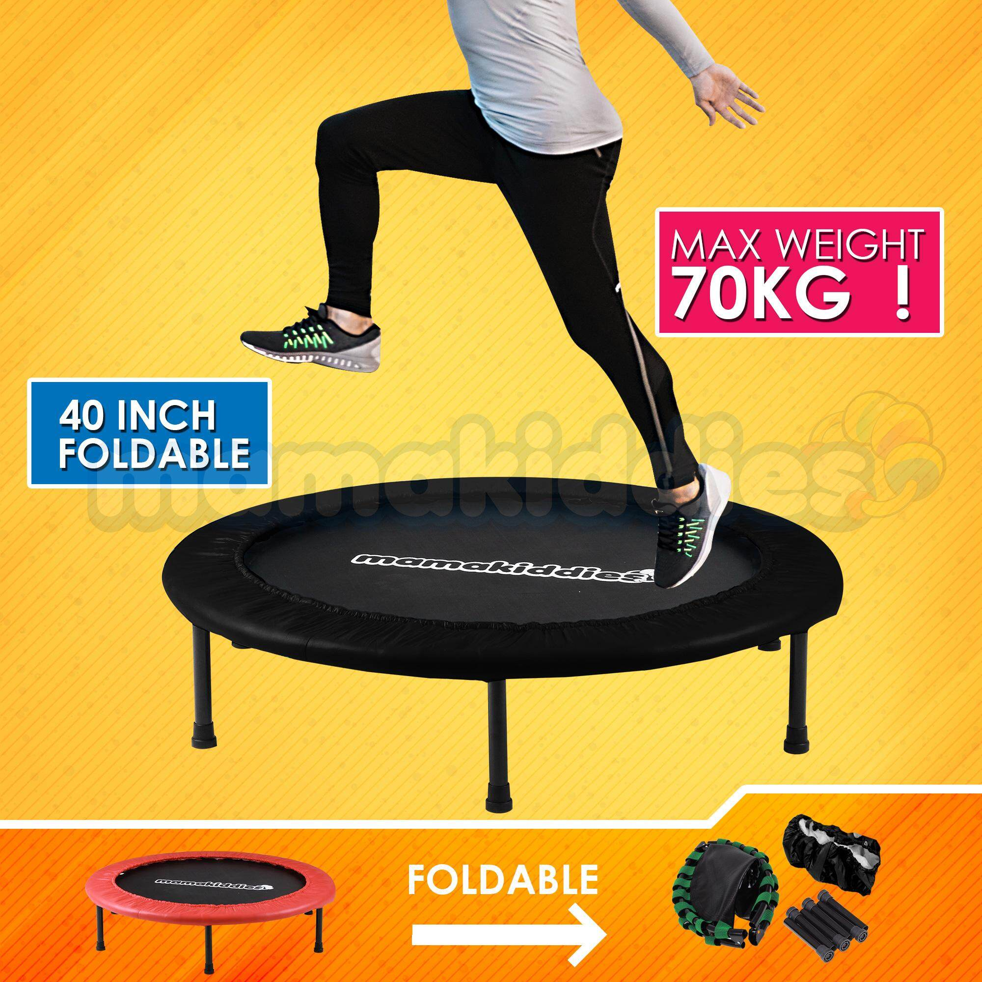 Mamakiddies 40 Inches 4 Folds Fold-Able Premium Bungee Trampoline Kids And Adult Fitness Slimming, Anti Stress, Jumping Bouncer, Physical Therapy For Autism & Exercise By Mamakiddies.