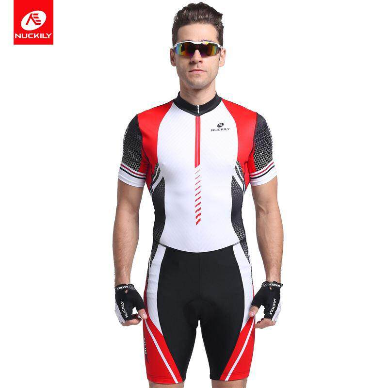 NUCKILY Men Summer Bike Triathlon Suit Foam Pad Custom Cycling Skinsuit Swimming Clothing Sports Set MQ002