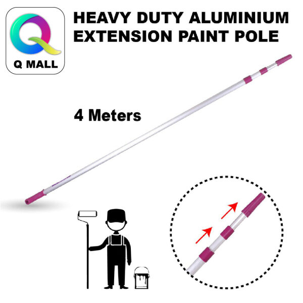 HEAVY DUTY ALUMINIUM EXTENSION POLE HANDLE PAINT ROLLER AND BRUSH 4METER