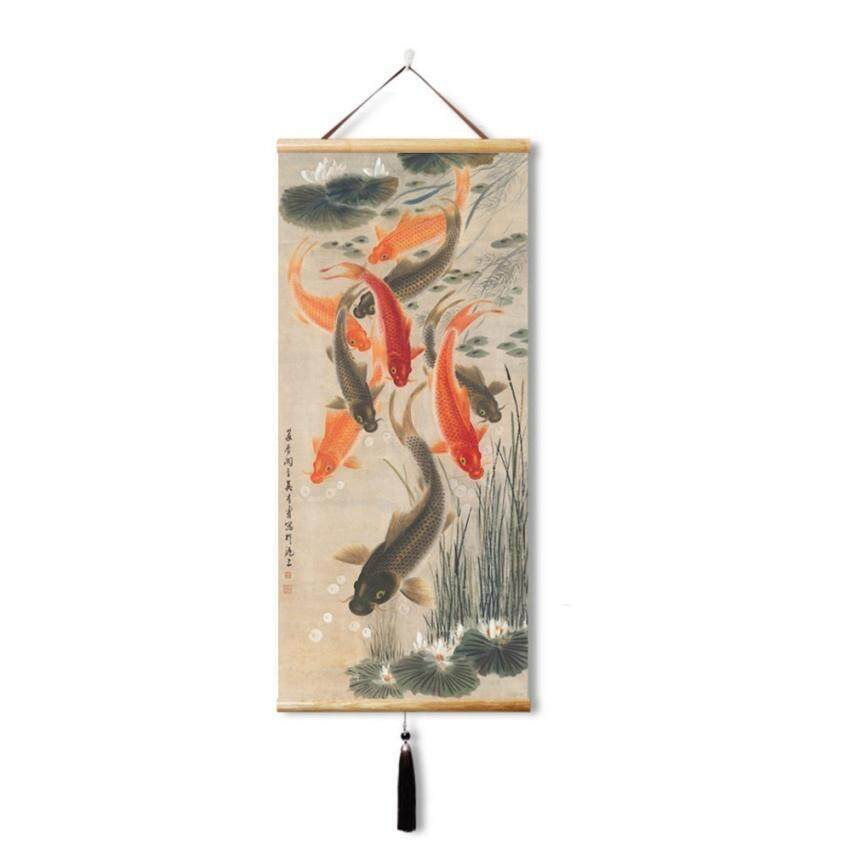 ZTStore Chinese Painting Wall Scroll,9 Carp, Metaphor Luck Improved(45X100cm)
