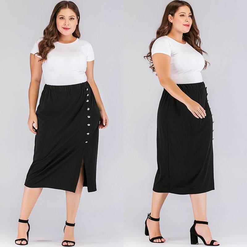 18ff41bfc57e7 New Women Plus Size Solid Skirt High Waist Button Split Slim Elegant Midi  Skirt Black
