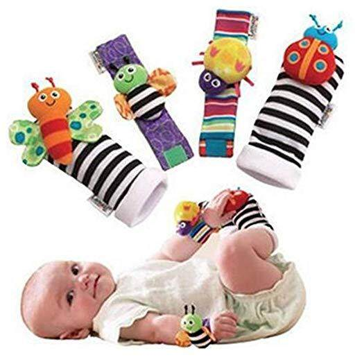 4 Pcs Set Cute Animal Soft Newborn Infant Baby Socks Toys Wrist Rattles and Foot Finders for Fun Butterflies and Lady bugs