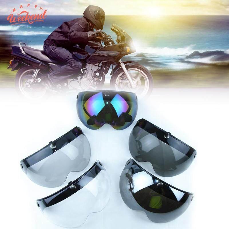 Motorcycle Biker Helmet 3-Snap Face Visor Lens Wind Shield Sunshade Down Clear By Happy Weekend.
