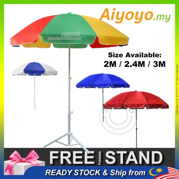 2m 2.4m 3m Parasol Umbrella Garden Umbrella Patio Umbrella UV Sun Shade Canopy Payung Pasar Malam Outdoor Night Market Stall Rain Kanopi Khemah Payung Pantai Backyard Beach Camping Hot Summer Day