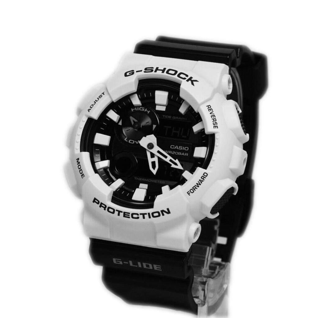 บุรีรัมย์ 【 STOCK】Original _ Casio_G-Shock GA110 Duo W/เวลา 200M กันน้ำกันกระแทกและกันน้ำโลกนาฬิกากีฬาไฟแอลอีดีอัตโนมัติ Wist นาฬิกากีฬาสำหรับ MenBlack White GAX-10