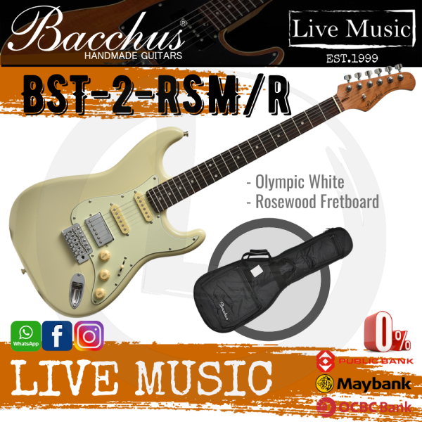 Bacchus BST-2-RSM/R-OWH Electric Guitar, Rosewood Fretboard - Olympic White (BST2RSM/BST-2-RSM) Malaysia