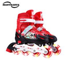Mantrahua 1 Cặp Trẻ Em Flash Giày Trượt Patin Có Thể Điều Chỉnh Giầy Trượt Patin Một Hàng Giày Trượt Băng