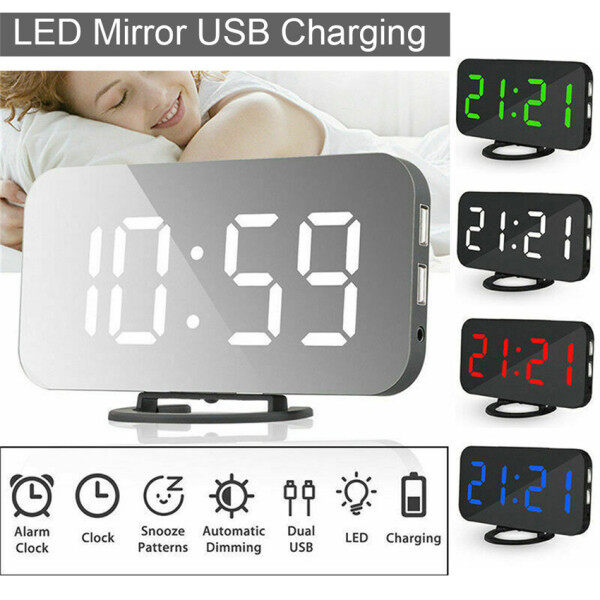 Nơi bán Đồng Hồ Báo Thức Điện Kỹ Thuật Số Gương Màn Hình LED Đồng Hồ Để Bàn Điều Khiển Bằng Giọng Nói USB