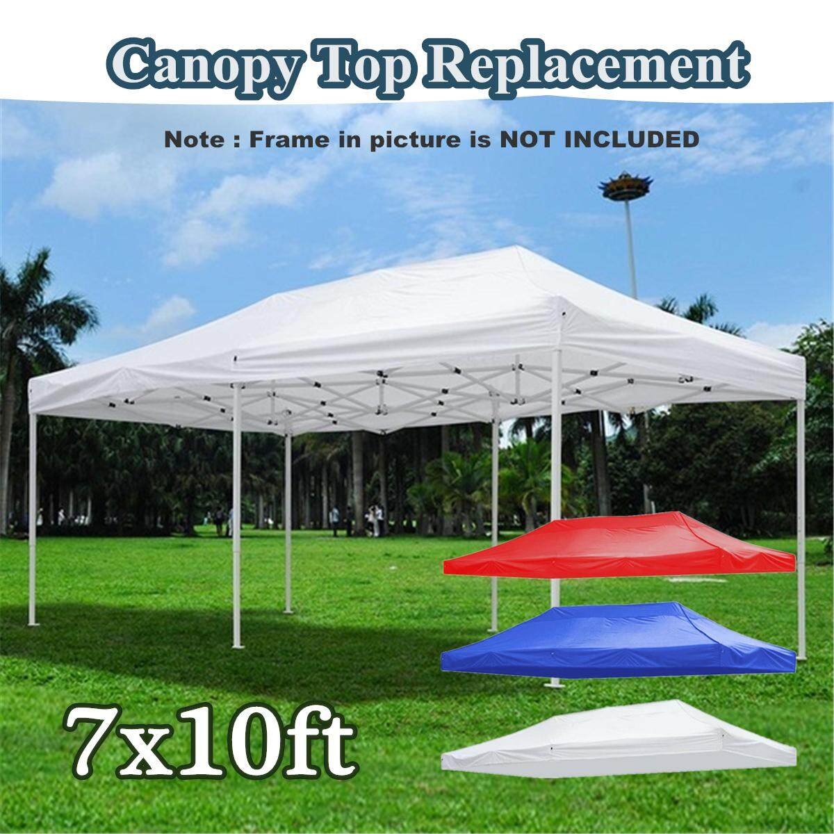 7x10ft Pop Up Canopy Top เปลี่ยนเต็นท์ลานศาลาที่ประกอบได้ตั้งกลางแจ้ง 420d ม่านบังแดด.