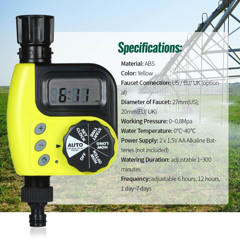 Automatic Water Timer Outdoor Garden Irrigation Controller 1-Outlet Programmable Hose Faucet Timer Garden Automatic Watering Device Yellow US Plug