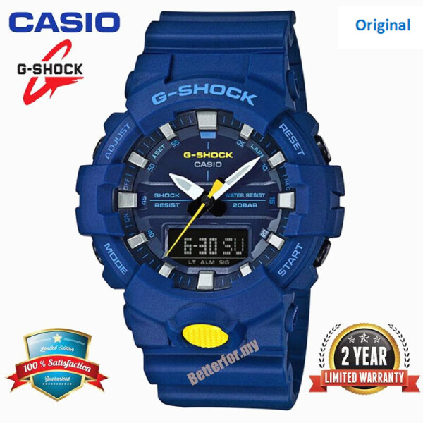 (HOT) Original G Shock GA800 Men Sport Watch Dual Time Display 200M Water Resistant Shockproof and Waterproof World Time White LED Auto Light Man Sports Wrist Watches with 2 Year Warranty GA-800SC-2A Blue Malaysia