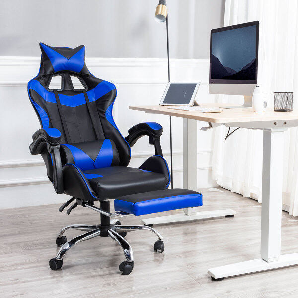[In Stock + Fast Shipping] Adjustable Height Seat 90°~150° Lying Ergonomic Racing Gaming Chair 360° Swivel PU Leather Gaming Chair With Footrest Home Office Recliner 5 Colors PC / Computer Chair