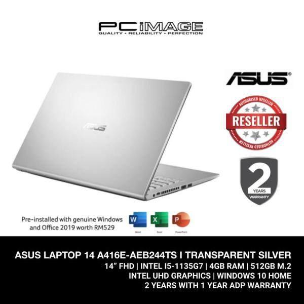 ASUS LAPTOP 14 A416E-AEB244TS (I5-1135G7/4GB/512GB M.2/UHD GRAPHICS/14 FHD/W10) TRANSPARENT SILVER Malaysia