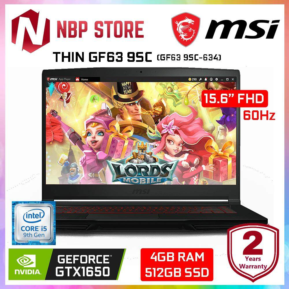 MSI THIN GF63 9SC-634 15.6 FHD IPS Gaming Laptop Black ( i5-9300H, 4GB, 512GB SSD, GTX 1650 4GB, W10 ) Malaysia