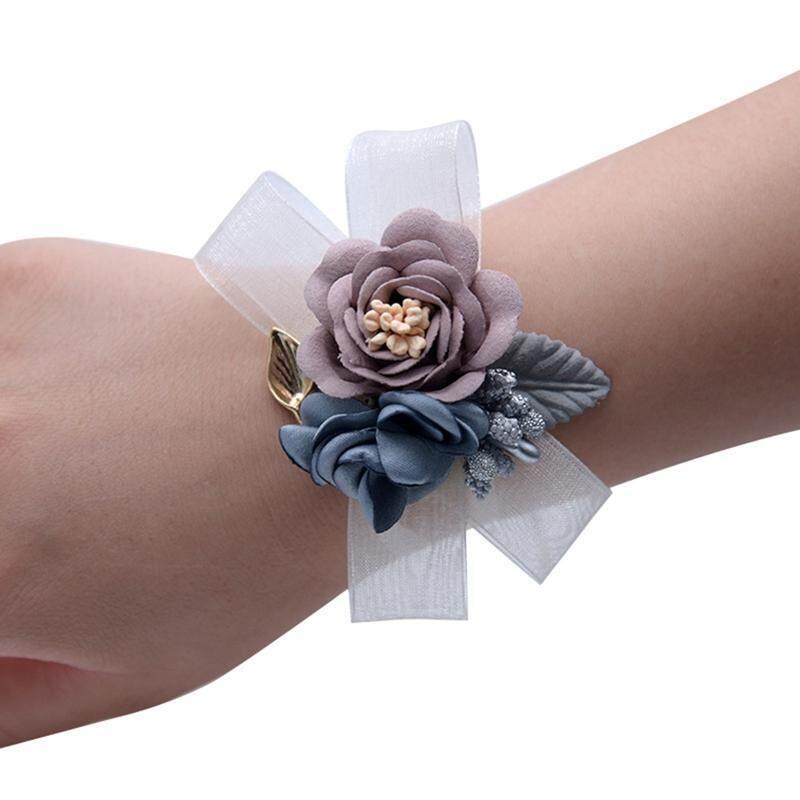 Permen Pengantin Saudara Perempuan Pengiring Pengantin Kain Camellia Pergelangan Tangan Pita Bunga Gelang