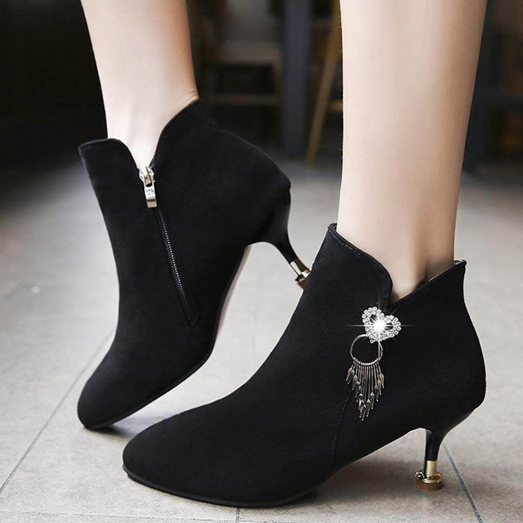 Fashion boots for women Women's Ladies Fashion Thin Heels Crystal Casual Single Shoes Short Boots size:35-40 free shipping support COD