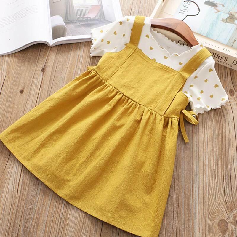 Giá bán Trẻ em Mùa Hè Bé Gái Cotton Yêu In Hình + Đồng Màu Dây Đeo Ngắn Váy Hai Dây Phù Hợp Với bé gái