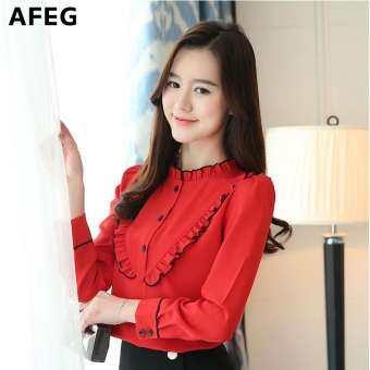 Afeg ผู้หญิงเกาหลีใหม่แขนยาวหูไม้ชีฟองแฟชั่นสบายๆอารมณ์ป่าเสื้อสง่างาม
