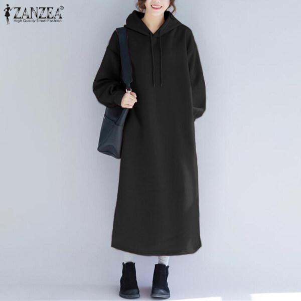 Đầm Áo Nỉ Có Mũ ZANZEA Cho Nữ, Phong Cách Hàn Quốc Nỉ Dài Quá Khổ Mặc Đi Nghỉ Mát Thường Ngày Dài Hết Chân Sang Trọng