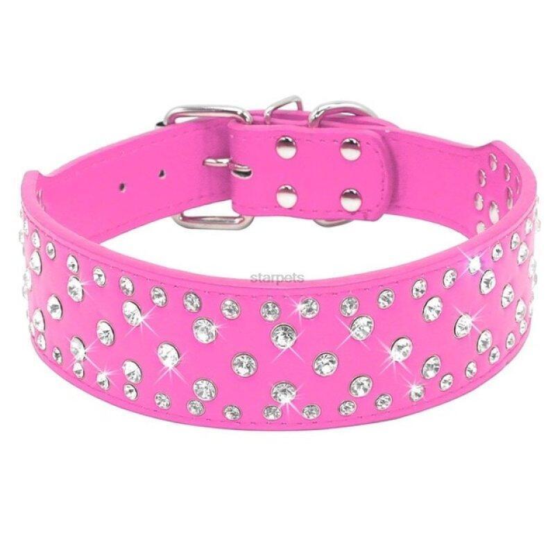 Thời Trang Jeweled Thạch Pet Dog Collars Sparkly Pha Lê Kim Cương Studded PU Leather Cổ Áo Cho Trung Bình & Lớn Chó Pitbull