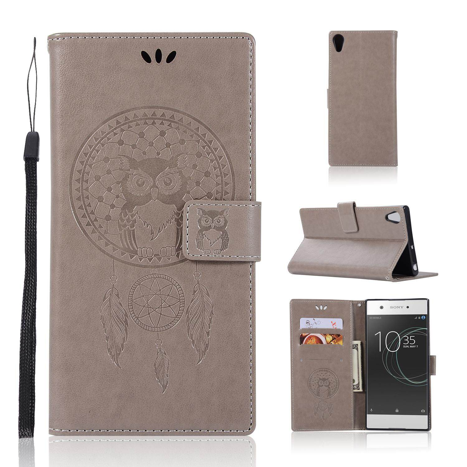Luxury For Sony Xperia Xa Ultra / C6 Casing , 3d Owl Embossing Leather Folio Flip Case Cover By Life Goes On.
