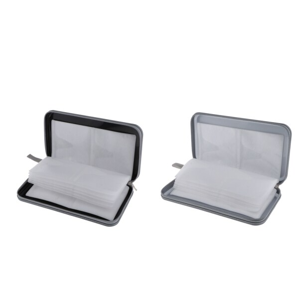 MagiDeal 2pcs 80 Disc CD Wallet DVD Case Storage Bag Carrier Plastic Silver/Black