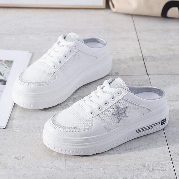 Giày đế dày nữ màu trắng hình ngôi sao, giày lười học sinh hoàn toàn mới giá rẻ