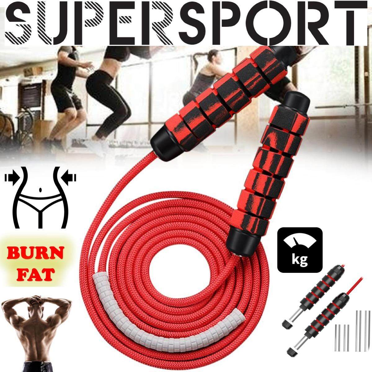 Boxing Skipping Rope WIRE with Heavy Weighted Steel Handles Gym Fitness