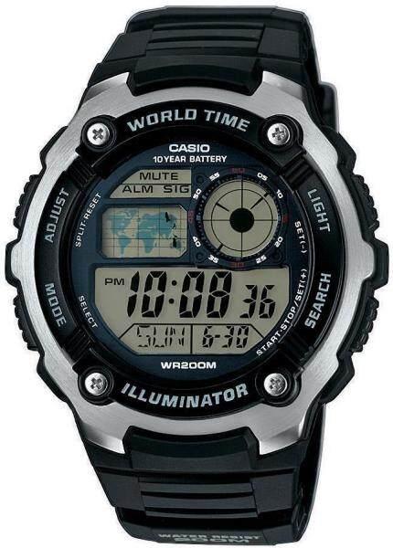 [Genuine] Casio AE-2100W-1A Mens Resin Strap Black Digital World Time Watch Malaysia