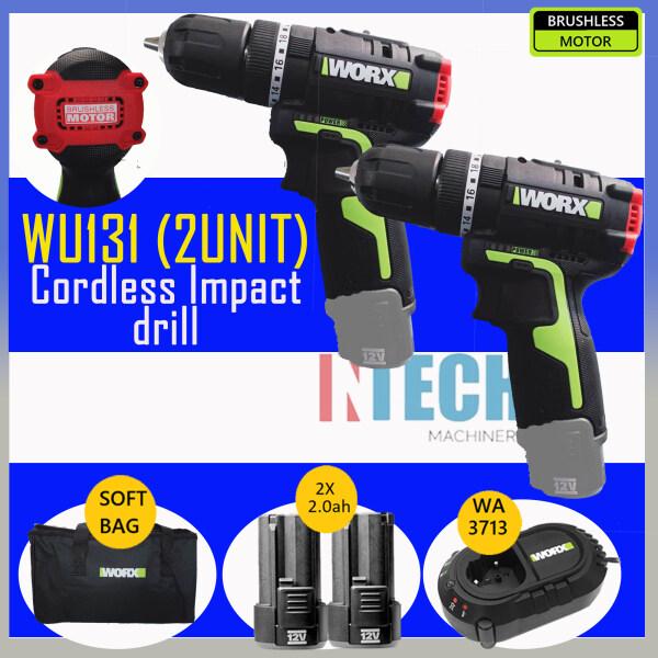 WORX 2 UNIT WU131 CORDLESS IMPACT DRILL BRUSHLESS MOTOR C/W 2 NOS 2.0AH BATTERY + 1x CHARGER WA3713
