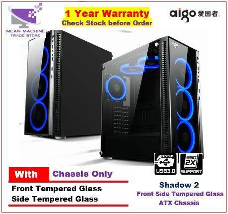 #Aigo Shadow 2 ATX Front Side Tempered Glass Gaming Chasis # Malaysia