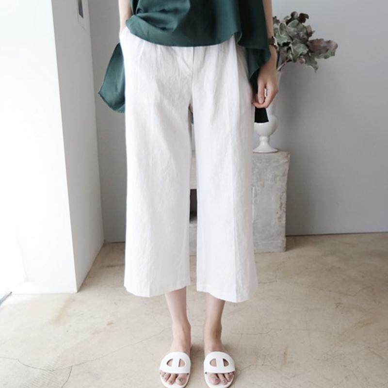 Veecome Women Cotton Linen Wide Leg Pants Plus Size Loose Wide Cylinder Casual Trousers.